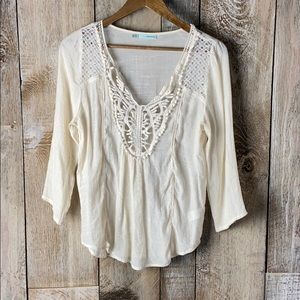 Maurices Peasant Gauzy Embellished Lace Blouse Med